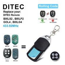 Ditec porta da garagem controle remoto 433mhz código de rolamento para gol4 bixlg4 bixlp2 bixls2 controles remotos abridor portão controle