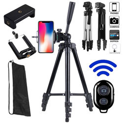 Lightweight Camera Phone Tripod Portable AdjustableStand Mount Holder Clip Bluetooth Remote Control For Live Youtube Cellphone