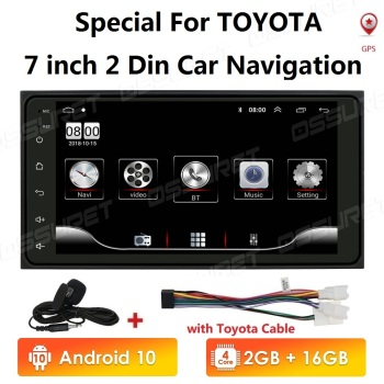2 Din Android Car radio Multimedia Video Player Universal auto Stereo GPS for Toyota VIOS CROWN CAMRY HIACE PREVIA COROLLA RAV4 image