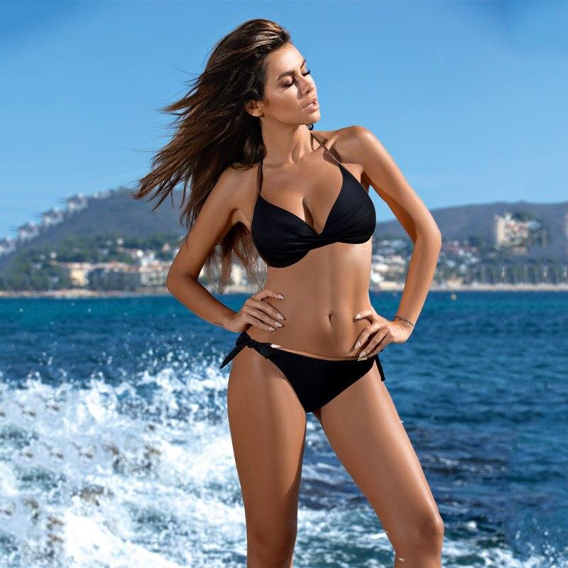 Бикини пуш-ап, сексуальный комплект бикини с принтом, купальник, летний купальный костюм, пляжная одежда,, женский купальник, бикини, купальник, бикини, XXL - Цвет: BK847BK