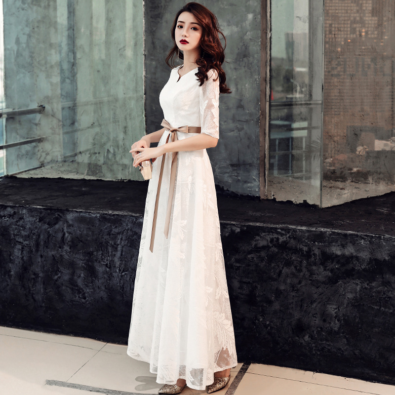 The New Party Dress Female Temperament Of Banquet 2020 Winter Simple Fashion Long Birthday Party