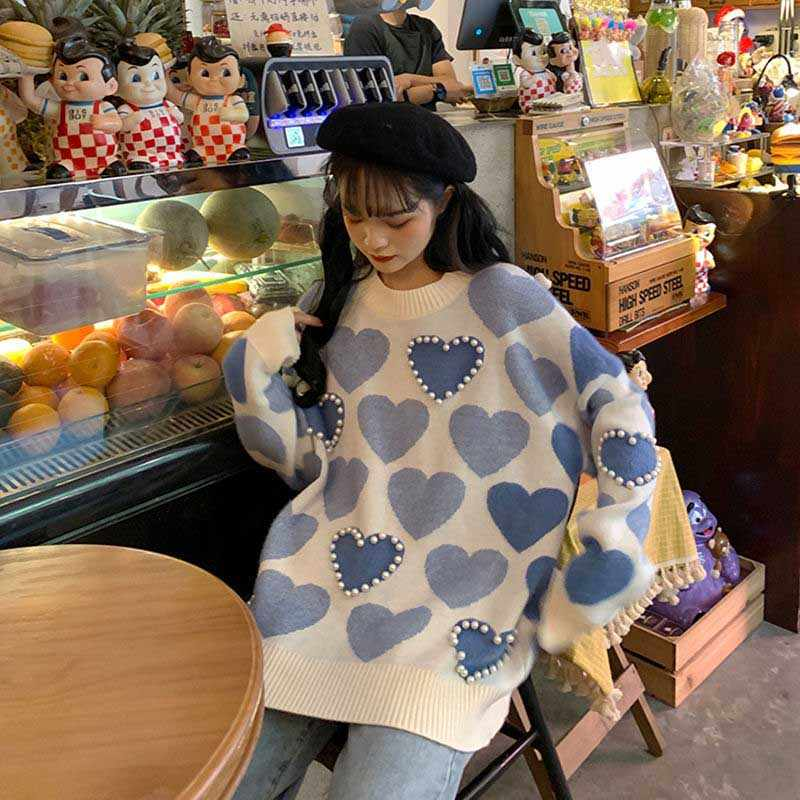 NiceMix 달콤한 preppy 스타일 스웨터 가을 겨울 의류 여성 패션 새로운 pullovers 니트 o-목 구슬 숙녀 탑스 느슨한