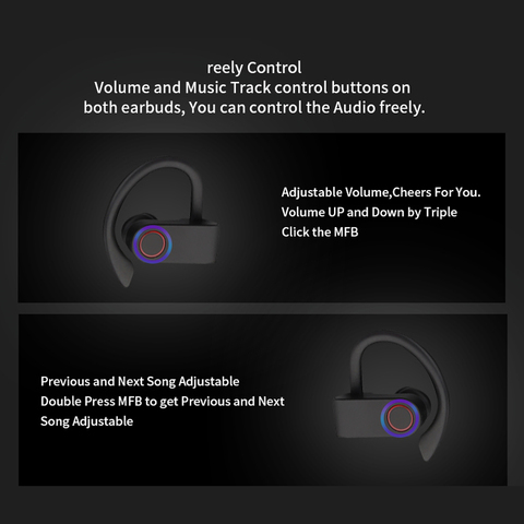 Wireless Sports Headphones TWS Bluetooth 5.0 Earphones Ear Hook Running Noise Cancelling Stereo Earbuds With MIC IPX4 Waterproof Multan