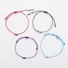 Minimalismo sorte amor coração forma charme pulseira fina corda vermelha thread trança pulseiras para homens mulheres casais presentes
