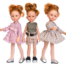 35CM Beauty Doll Toys For Girls Dress Suit Fashion Clothing 14 Inch Full Silicone Dolls Freckle Pock Face Style Children Gifts