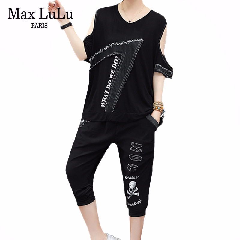 Max LuLu New 2020 Korean Fashion Designer Ladies Punk Two Pieces Sets Womens Patchwork Off Shoulder Suits Casual Tops And Pants