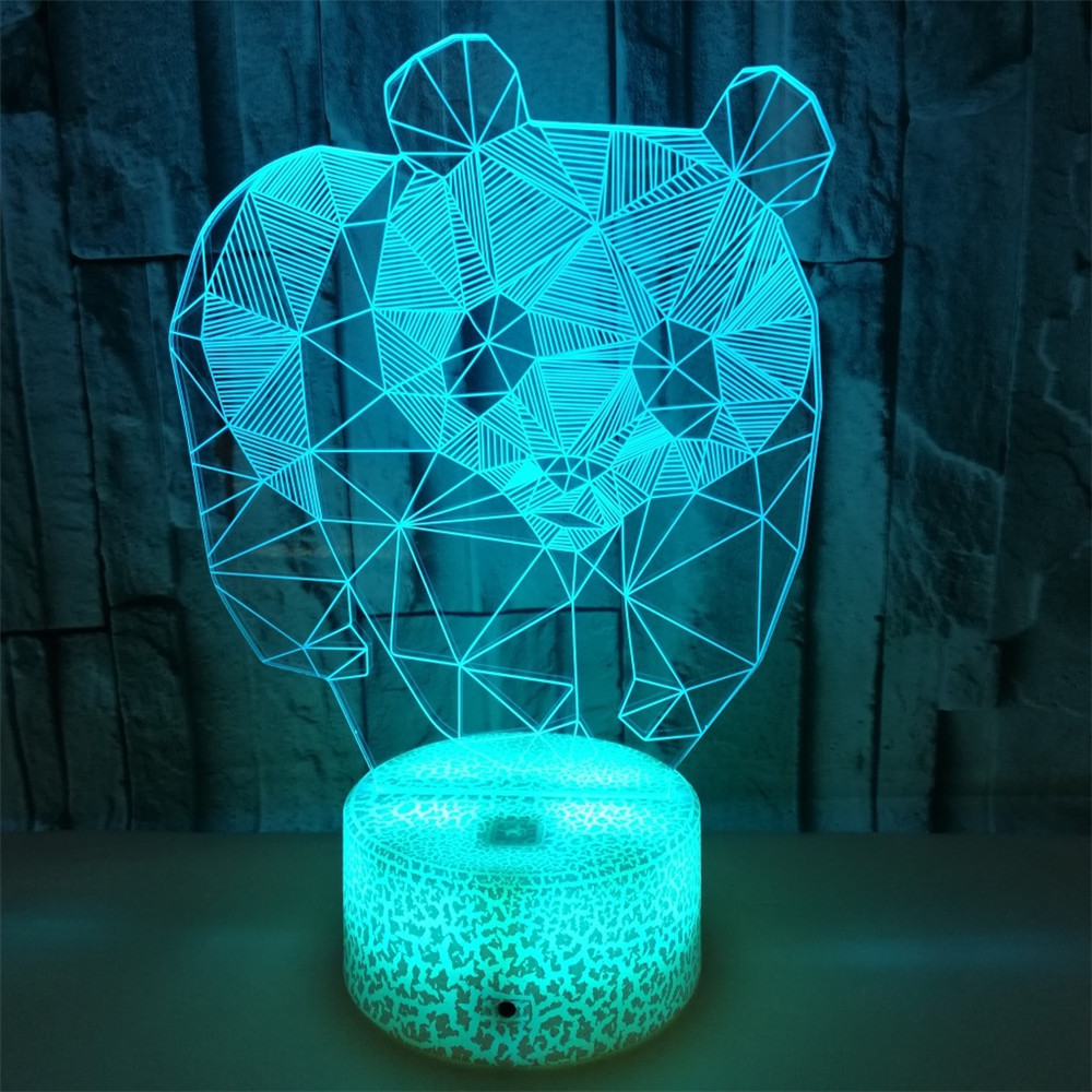 3D Panda Led Novelty Light 7 Colors Battery Powered USB Operated Night Lamp Indoor Cute Decoration Bedroom,Foyer