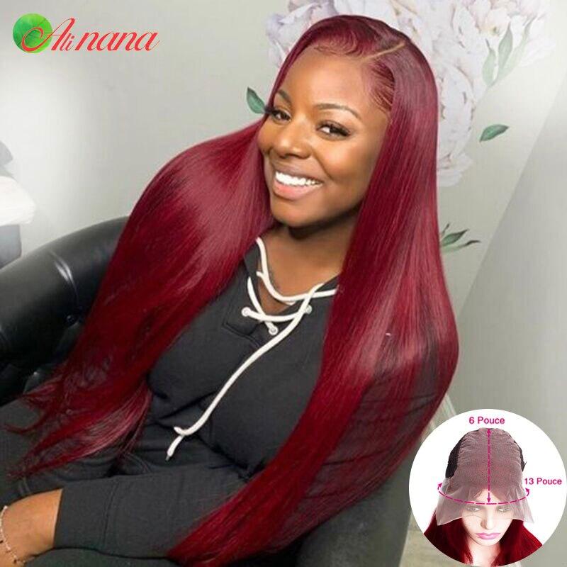 Малазийский прямой парик 13x6 на сетке спереди, предварительно выщипанные прозрачные человеческие волосы спереди, безклеевые парики бордово...