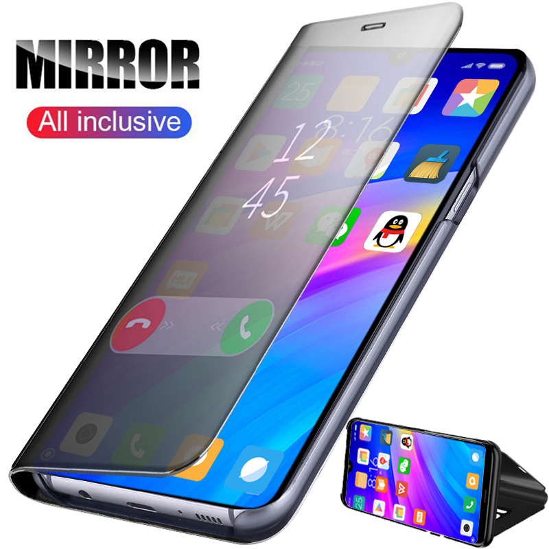 Smart Mirror Flip Case For Xiaomi Redmi Note 7 5 6 8 K20 Pro 4X 5A 6A Plus S2 Leather Case For Mi 9T 9 F1 8 SE A1 A2 Mix 2 Case