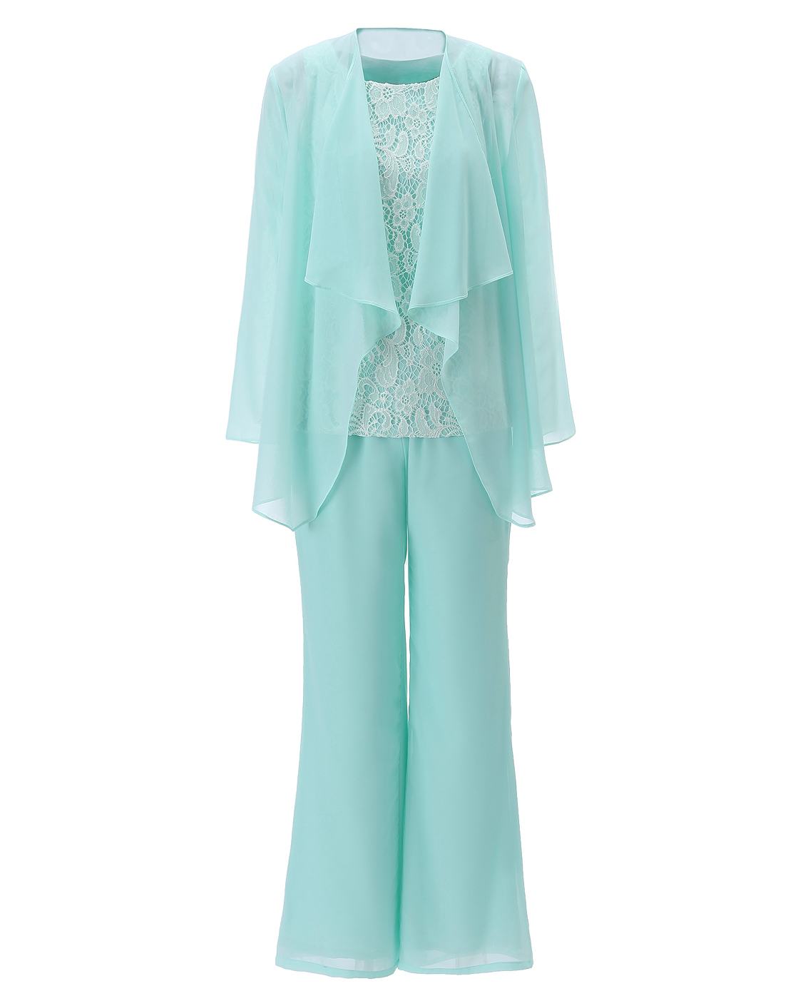 Formal Navy 3 Pieces Women Chiffon Lace Fashion Mother Of The Bride Dress Pant Suits With Long Sleeves Outfit Jacket SL-M05