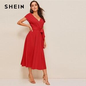 Image 5 - SHEIN Zipper Back Surplice Neck Belted Flare Dress Elegant Women Summer Dress Solid Deep V Neck High Waist Dress