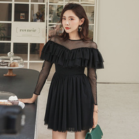 YIGELILA New Arrivals Black Short Dress O neck Long Sleeves Mesh Dress A line Above knee Mini For Dinner Party Dress 64730