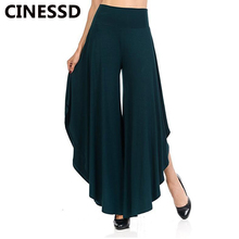 CINESSD Women Wide Leg Pants Solid Loose Irregular Casual Long Trousers Dark Green Ankle Length Office Ladies Cotton Soft