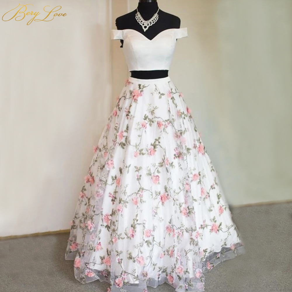 BeryLove Lovely Pink Flower Prom Dresses 2020 Plain Ivory Bodice Side Sleeves Two Pieces Young Girl Long Party Evening Dress