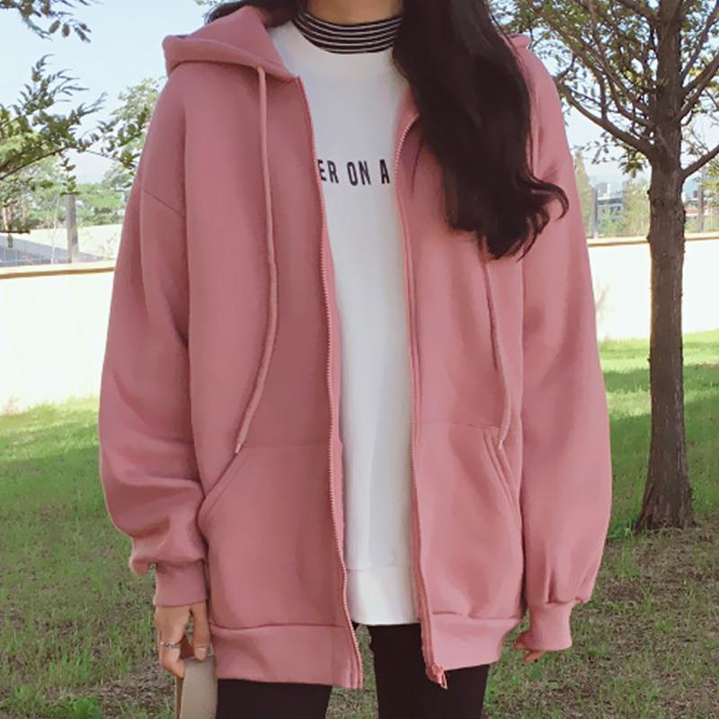 New Korean Hoodies Coat Women Casual Loose Womens Jacket Hooded Sweatshirts Plus Zipper Oversized Top Autumn Outwear XXL