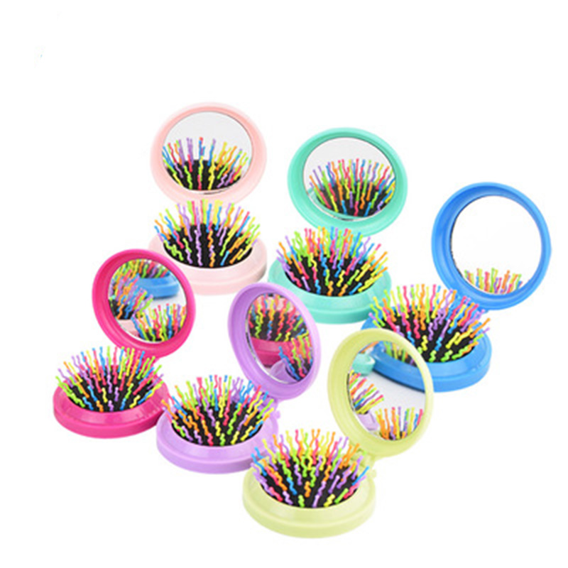 Baby Rainbow Hairbrush Kids Mini Portable Head Massager Hair Brush Children Bath Anti-static Comfortable Fold Combs With Mirrors