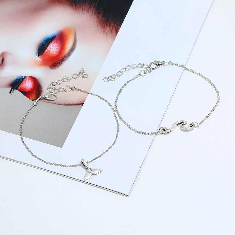 CHSXY fala ogon wieloryba podwójna warstwa obrączki dla kobiet sandały na noga łańcuch stóp biżuteria czeski lato plaża kostki bransoletka
