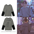 Neue kpop Bangtan Boys JIMIN Gleiche Unregelmäßigen Ausschnitt Streifen Sweatershirt Pullover Hoodie Lange Hülse Hemd kleidung