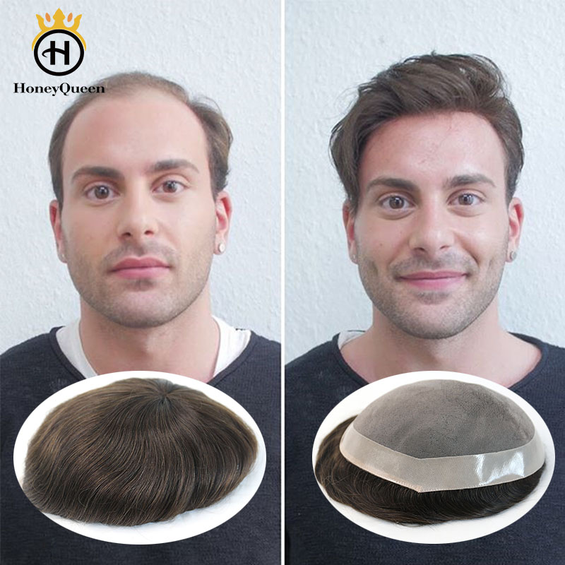 Durable Hair Toupee Mono System Men Natural Looking 100% European Human Hair Toupee Mono With NPU Replacement System Remy Hair