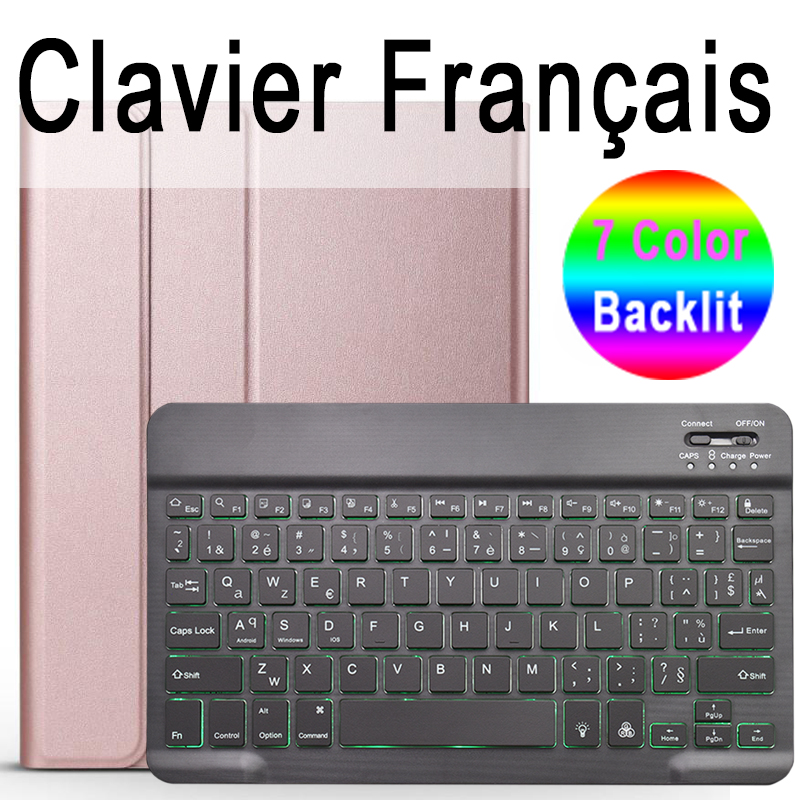 French Keyboard mauve For iPad 10 2 2019 7 7th 8th Generation A2200 A2198 A2197 Case with Backlit Keyboard