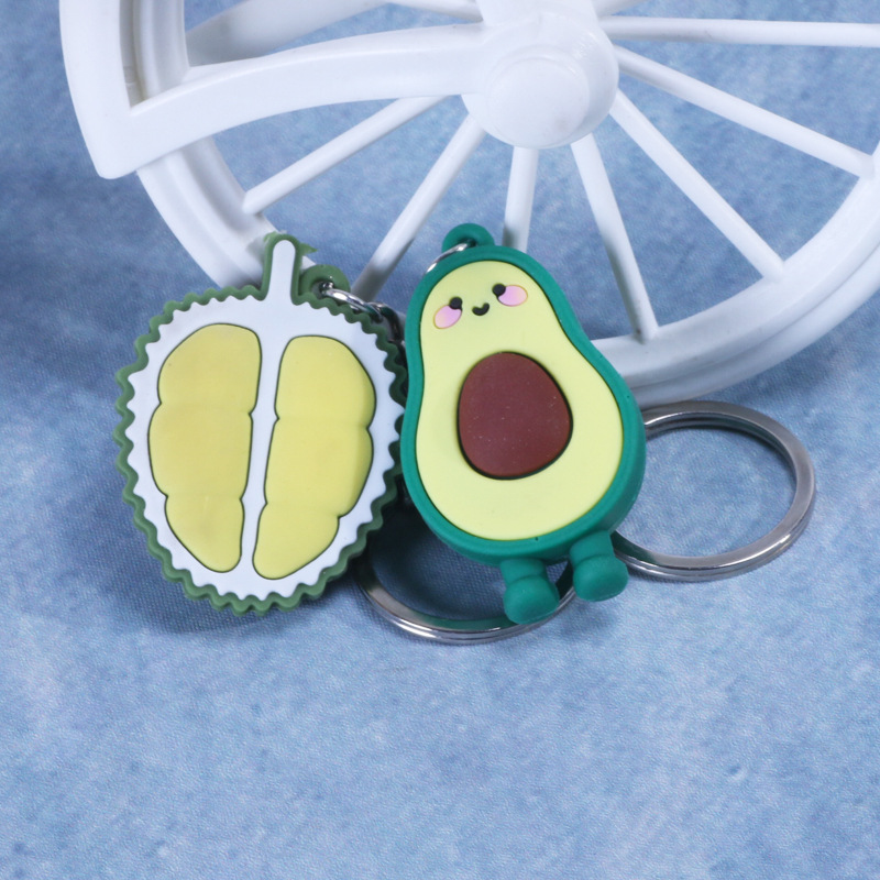 Cartoon PVC Key Chain Avocado Durian Simulation Pendant Key Ring Keychain On The Bag Gifts For Men And Women DIY Dropshipping