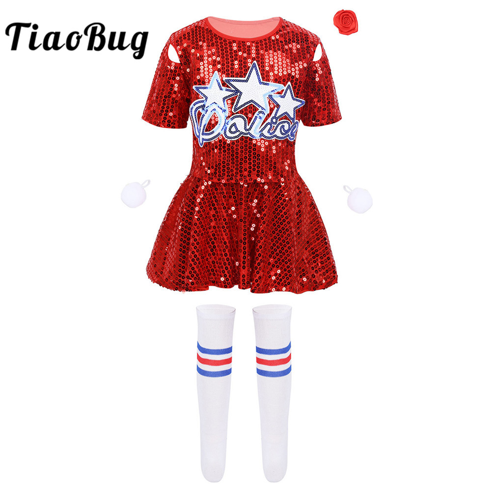>TiaoBug Kids Girls Sequins Crop Tops with Skirt Shorts Socks <font><b>Outfit</b></font> Cheerleading Uniform Stage Performance Jazz Dance Costume