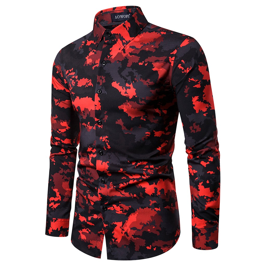 Men Shirt Red Printed Shirts Ethnic Style Streetwear Printing Slim Long Sleeves Casual Blouse Camouflage Chemise Homme Camisas