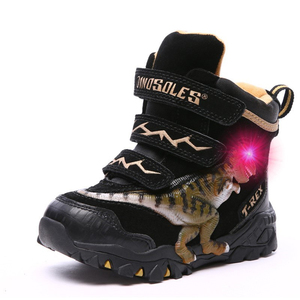 Image 2 - Dinoskulls Boys Winter Boots Shoes Genuine Leather T Rex LED Glowing 2020 kids 2 8T Warm Plush Fleece Children Snow Boots Shoes