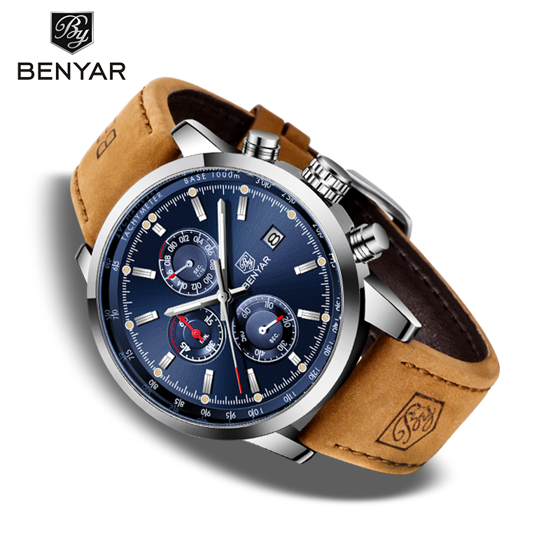 BENYAR Men's Watches New Top Brand Luxury Sport Chronograph Men Military Wristwatch Man Fashion Leather Clock Reloj Hombres 2020