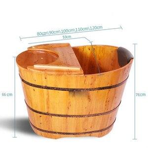Image 2 - คุณภาพสูงอ่างอาบน้ำ Cask ผู้ใหญ่ Barrel อ่างอาบน้ำไม้ขนาดเล็กห้องน้ำอ่างไม้ Bath ที่ใช้ในครัวเรือน Barrel อ่าง