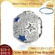 ATHENAIE 925 스털링 실버 멀티 컬러 에나멜 & 클리어 CZ Cosmic Stars Bead Charms