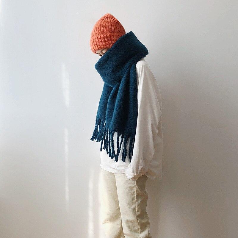 Bufanda gruesa de Mohair grande para mujer, otoño e invierno, cálida, de doble cara, versión coreana del salvaje largo Collar chal