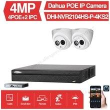 Dahua 4MP 4+2/4 Security Camera System 4MP IP Camera IPC-HDW4433C-A 8CH POE NVR2104HS-P-4KS2 Surveillance P2P System Remote View original dahua 4mp ipc hdbw4421r as ip network camera support poe