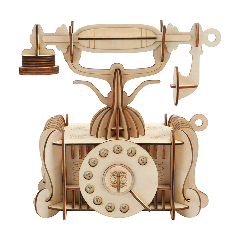 DIY 3D Wooden Old-Fashion Phone Puzzle Game Children Kids Natural Color Toy Model Building Kits Educational Hobbies Gift