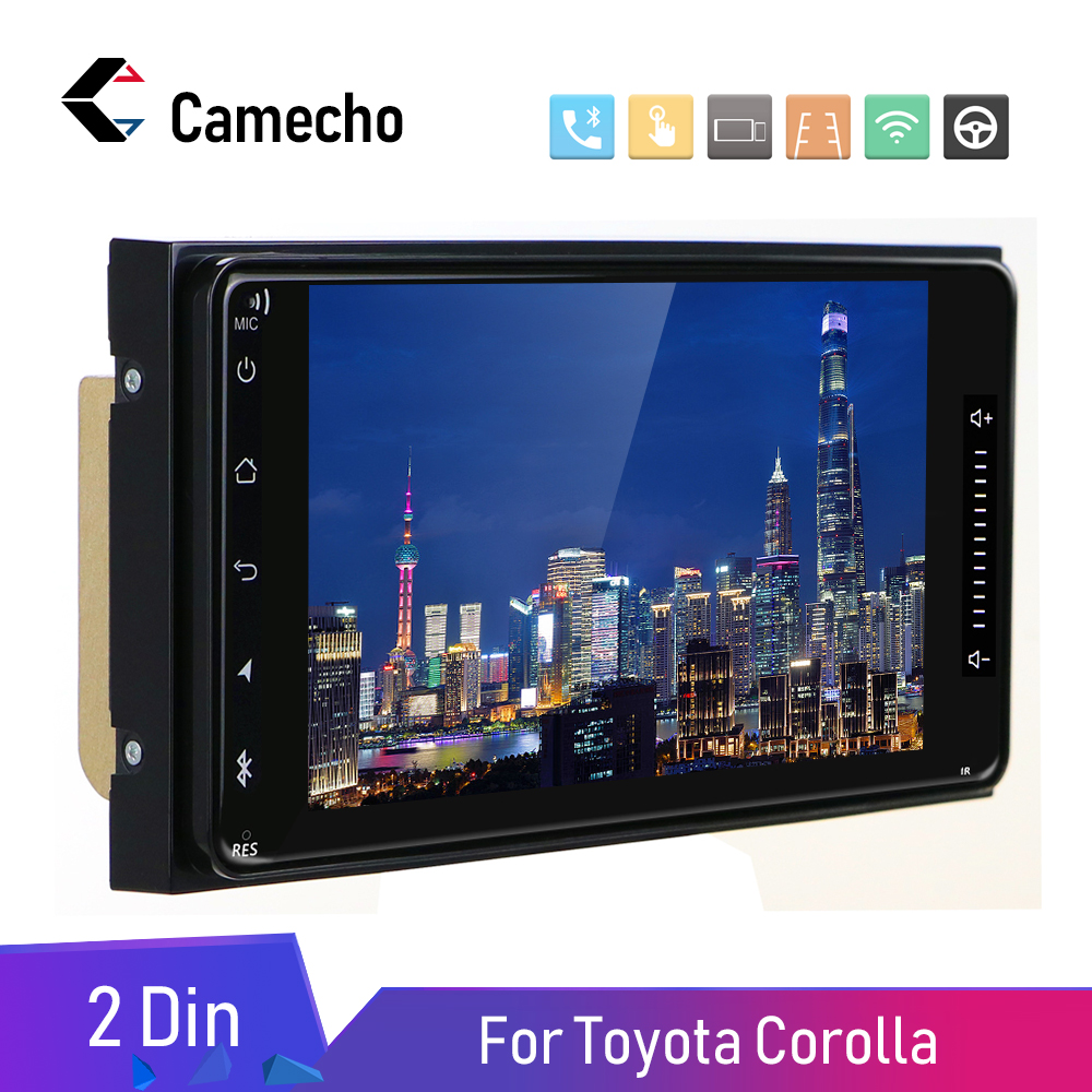 Lecteur multimédia de voiture Camecho Android 8.1 2 Din 7 ''Autoradio GPS Autoradio Bluetooth Audio stéréo FM AUX USB pour Toyota Corolla