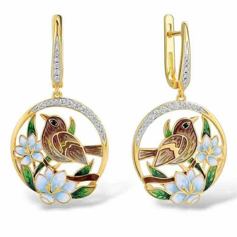 Vintage Hummingbird Pierced Earrings and Necklace Set Green Enamel Estate Jewelry