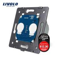 LIVOLO UE Standard, AC 220 ~ 250V La Base Di Chiaro Della Parete di Tocco Interruttore Dello Schermo, 2Gang 1Way, VL-C702