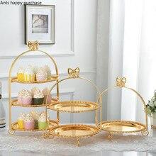 Única camada duas camadas três camadas arco suporte de bolo de metal ouro prata redonda pérola sobremesa bolo pan bandeja de frutas expositor