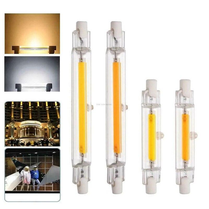 Светодиодный R7S Стекло трубка COB лампы 78 мм 118 мм 15 Вт, 20 Вт, 30 Вт, 40 Вт, R7S Кукуруза лампы заменить галогенные светильник 110V 220V мотоциклов л