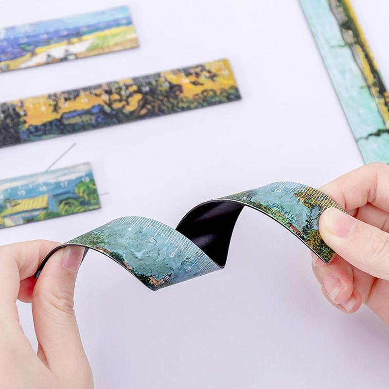 Creative Oil Painting Magnetic Soft Ruler 18 Cm Cartoon Simple Ruler Cute Magnetic Bookmark Ruler Painting Learning Stationery