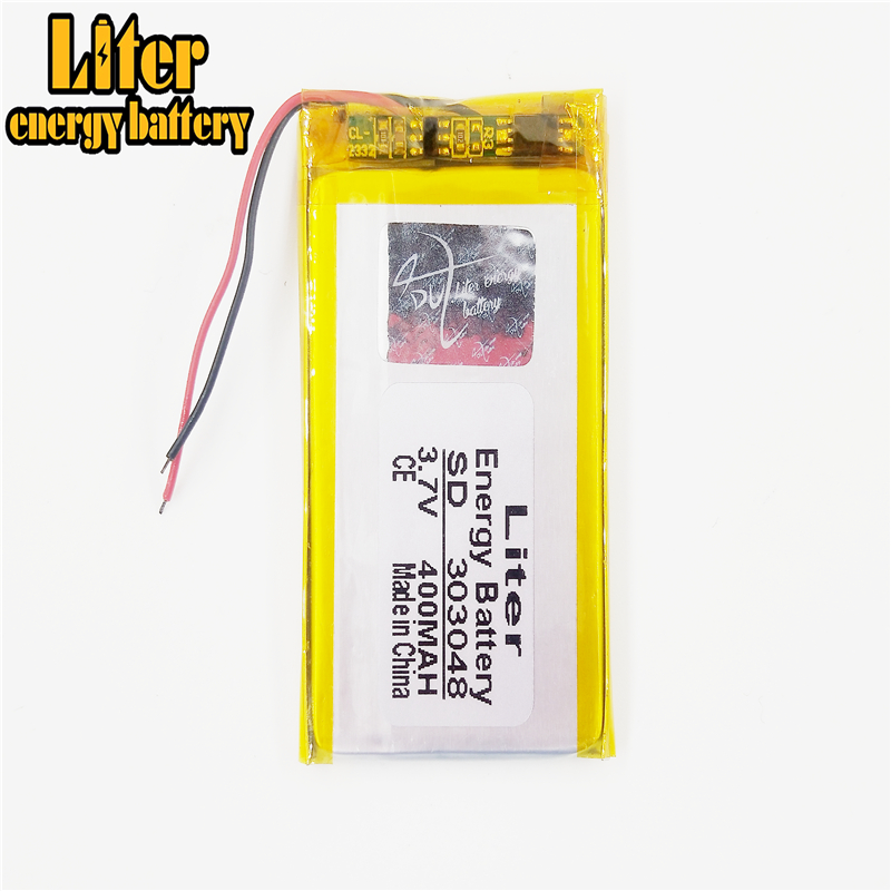 303048 <font><b>3.7V</b></font> <font><b>400mAH</b></font> polymer lithium ion / Li-ion Rechargeable <font><b>battery</b></font> for GPS mp3 mp4 mp5 dvd Remote Control E-book image