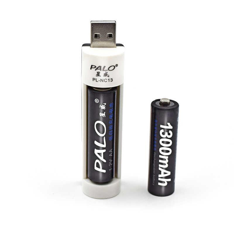 PALO C824W USB зарядное устройство высокого качества для Ni-MH AA AAA батареи + 2 шт aa 1300 mah зарядное устройство