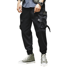 Men's Ankle-Length Pants Casual Cropped Pants Cotton Overalls Summer Pockets Overalls Male Streetwear Unisex Clothing