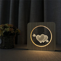 One Arrow Heart 3D LED Arylic Wooden Night Lamp Table Light Switch Control Carving Lamp for Children's Back School Decor Gift