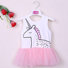 Summer New Style Pink Grey Unicorn Sleeveless Girls Cute Dress Hipster Kids Children Baby Girl Princess Tutu Mesh Dress(China)