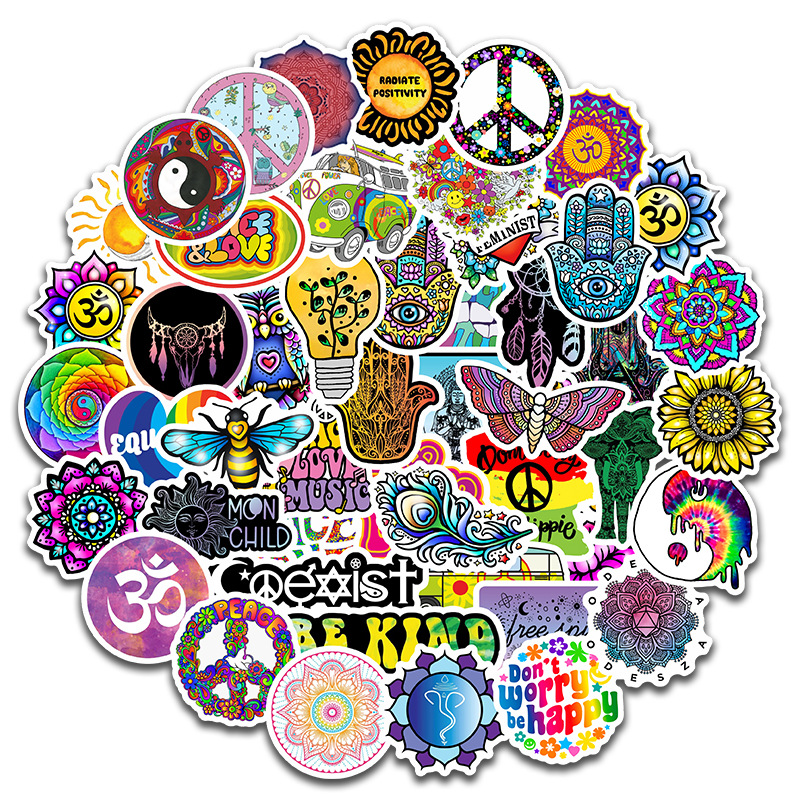 50 PCS Hippie Stickers Peace Signs Totem Waterproof Decal Sticker To DIY Laptop Luggage Snowboard Car Toy Sticker for Kids