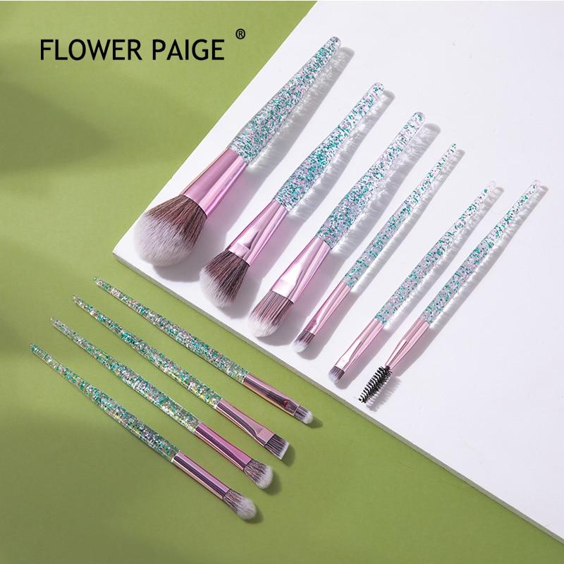 Набор профессиональных кистей для макияжа FLOWER PAIGE, 10 шт., косметические кисти, наборы инструментов для основы, бровей, пудры, губ, теней для ве...