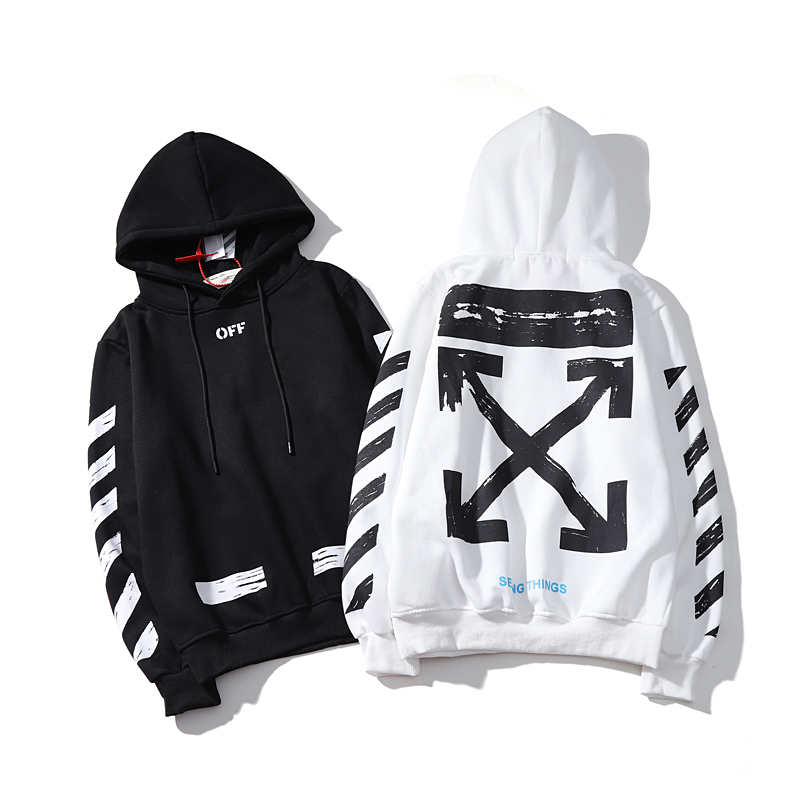 Stripe Arrow 19ss Off-White OW Men/Women Lovers Models Autumn Winter Fashion Cotton Casual Hoodie Sweatshirt Hooded Loose Jacket