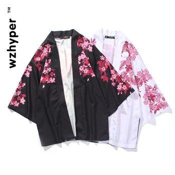 Samuraj żuraw styl japoński Kimono Haori mężczyźni kobiety sweter chińskie tradycyjne ubrania azjatyckie ubrania Kimono tradycyjne tanie i dobre opinie wzhyper Poliester Trzy czwarte
