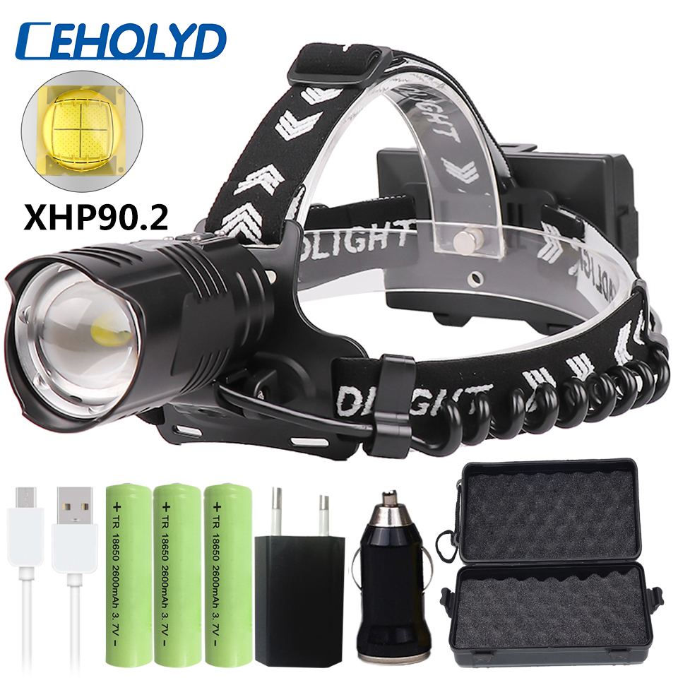 Xhp90.2 Led Headlamp Headlight Head Lamp Flashlight Torch Lantern Bulbs Zoom In / Out Lithium Ion 3* 18650 Rchargeable Battery